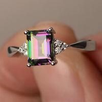 Women Silver Gift Rainbow Fire Mystic Topaz Wedding Engagement Ring Sz6-10