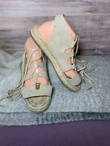 Size 9.5 ~ Women's Sandals Michael Kors BRODERICK Espadrille Gladiator Tie up