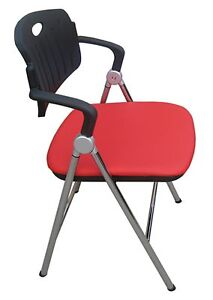 2/pk Furniture Indoor Steel Folding Chair Padded Leather Seat Chrome Frame