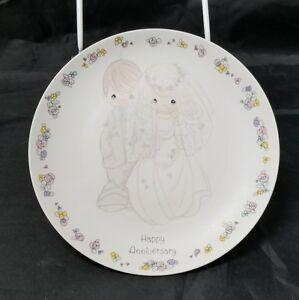 "Happy Anniversary Plate: 6.5"" Precious Moments, By Sam Butcher 1988 White Dish"