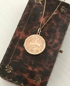 Vintage Rolled Rose Gold Photo Locket Pendant on 925 Gilt Chain Necklace (D7E5)