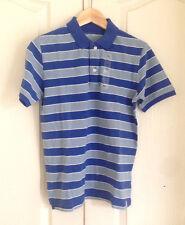 Gap Kid Boys Polo Shirt Sz XXL 14 16 Blue Striped Short Sleeves Pique Cotton New