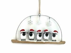 Shoeless Joe Winter Woolly Five Sheep on Driftwood - Fun Christmas Decoration