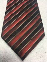 VAN HEUSEN MENS TIE BLACK RED BURGUNDY STRIPED 3.75 X 60