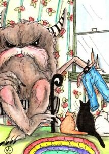 """1 Original, ACEO ,surreal """"Too big for his britches"""" painting!!"""