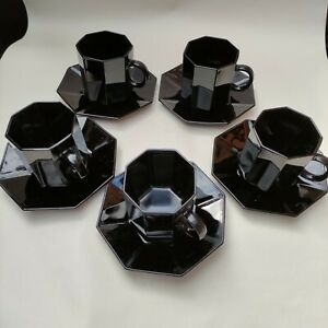 Arcoroc Octime Black Coffee 5x Cup Mug & Saucer Set Esso Collection 80's France