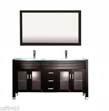 60 inch Double Sink Bathroom Vanity cabinet Espresso with mirror & faucets 20w