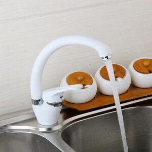 Kitchen Vessel Sink Basin Mixer Deck Mounted White 360°Swivel Spout Faucet Taps