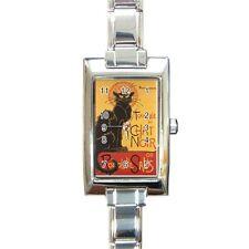 Le Chat Noir Rectangular Italian Charm Watch