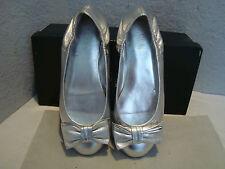 New Lauren Ralph Lauren Evelia Vintage Silver Grained Metallic Shoes 5.5 B