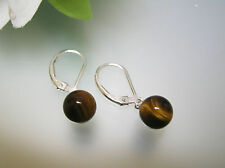Top quality natural Tiger Eye stone 8 mm ball sterling silver leverback earrings