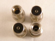 4 x Screw On Coaxial Coax TV Aerial Plug, Easy Fit Single Piece Metal Connector