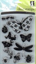 New INKADINKADO RUBBER STAMPS CLEAR XL set butterflies bugs free usa ship cling