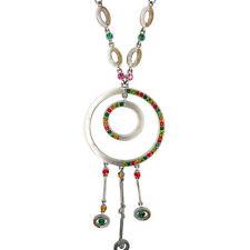 Circles Pendant Charm Dangle Necklace Austrian Crystal Multi-color Jewelry Retro