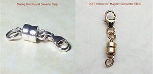 """Sterling Silver&14KTGF Magnet Converter Clasp/Necklace/Bracelet Extender 1""""- 4"""""""