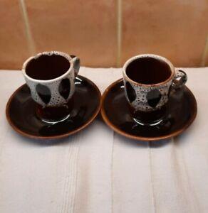 Vintage Studio Drip Ware Stuart Bass Exmoor Coffee Cup & saucers Brown Cream