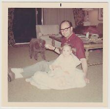 Square Vintage 70s PHOTO Man Dad w/ Little Toddler Girl & Black Poodle Dog