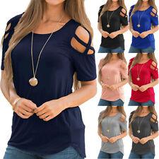 ? Schulterfrei Damen T-Shirt Bluse Oberteile Kurzarm Shirt Freizeit Sommer Top