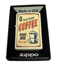 Zippo Custom Lighter 1950's Vintage Coffee Poster Regular Cream Matte Pocket