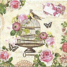 Lot de 4 Serviettes en papier Oiseau Cage Vintage Decoupage Collage Decopatch
