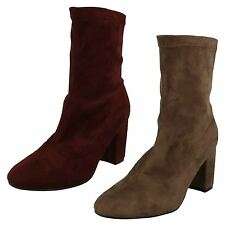 F50681-Ladies Anne Michelle Heeled Ankle Boots 2 Colours- Taupe & Burgundy