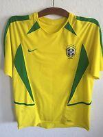 VTG Nike Brazil Soccer Jersey Size Adult Medium Futbol Shirt Brasil Yellow Green
