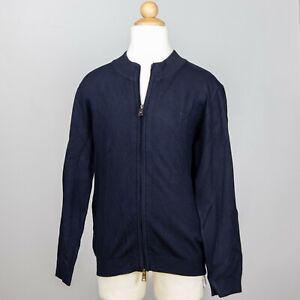 Armani Boys Navy Zip Up Sweater High Neck Ribbed Cuffs Logo Patch Size 10 EUC