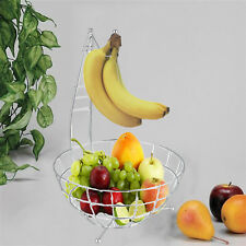 DELUXE CHROME 2IN1 BANANA HOOK HANGER TREE HOOK FRUITS STORAGE WIRE APPLE BOWL