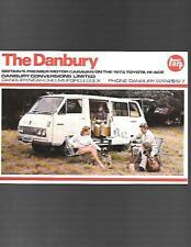 DANBURY TOYOTA HI ACE MOTORHOME MOTOR CARAVAN SALES BROCHURE + PRICES FOR 1973