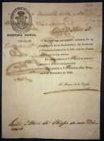 1853 Colonial Spain Signed Captain General CONDE PEZUELA Takes Power in Antilles