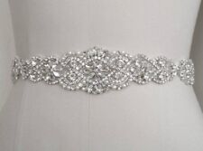 "21"" LONG Wedding Sash Belt =CRYSTAL PEARL Wedding Sash Belt = IVORY SATIN SASH"