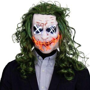 Halloween Joker Scary Mask LED Light Up Clown Masks Horror Cosplay Fancy Dress