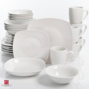 30-Piece Porcelain Dinnerware Set Square Dinner Plates Dish Service For 6 White