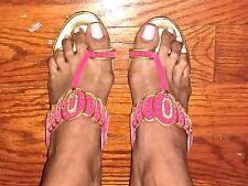 NEW PINK & GOLD FANCY INDIAN BOLLYWOOD SYTLE HOLLYWOOD HEELED SANDALS Size 8