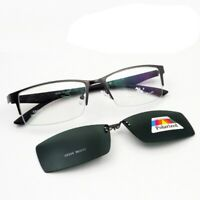 Half Rimless Eyeglass Frames  Clip-on Magnetic Polarized Sunglasses UV GFA825