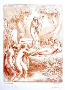 """Auguste Pequegnot (1819-1878) Estampe Sanguine après Parmesan """"Nymphes"""", Sarazin"""