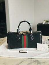 Auth New GUCCI Black Leather Suede GG Boston Leather Logo Shoulder Duffle bag