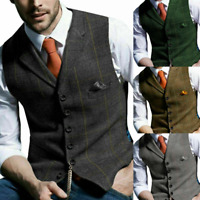 Mens Lapel Waistcoat Retro Tweed Formal Vest Herringbone Slim Sleeveless Jacket