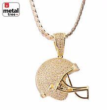 Luxury Fashion Football Helmet Pendant Gold Plated Miami Cuban Chain BCH 1149 G