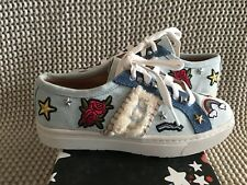 UGG PATCH IT BLEACH DENIM / SHEARLING LACE UP SNEAKER SHOES SIZE US 6 WOMENS