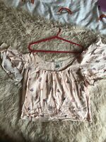 Forever 21 Floral Bardot Milkmaid Top L