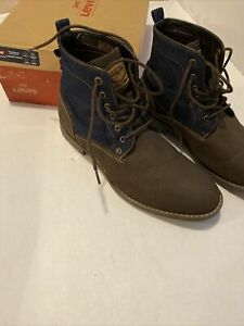 LEVI Men's Lakeport Denim Shoes Size 11.5M Brown/Navy