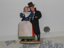 Vtg. Hand Made Polish Male / Female Couple Dolls on Wood Platform