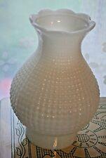 """VTG OIL LAMP SHADE TEXTURED WHITE MILK GLASS SCALLOPED 3"""" fitter Victorian Decor"""