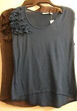 Sweet Pea for New York & Company by Staci Frati Shirts Sz M Gray Blue Ruffle