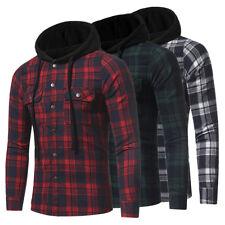 Men Fashion Luxury Hooded Stylish Plaid Flannel Casual Shirts Long Sleeve Shirt