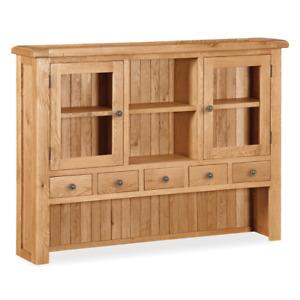 Sidmouth Oak Large Hutch - Rustic Welsh Dresser Top - Sideboard Top Unit