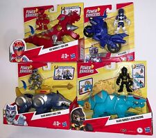 Power Rangers Red w T-REX ZORD, Silver w WOLF, Black w DIMETROZORD, Blue w CYCLE