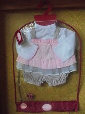 """New Gotz Doll Outfit Jumper Top Striped Bloomers Pink Gray 17.5 18"""" 19.5 Pbk"""