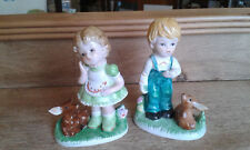 Vintage double trouble kitch 1950s 2 cute boy and girl ceramic figures